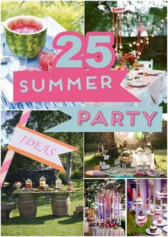 25 Summer Party Ideas Summertime is the best time for parties! In summer you don't need special occasion to make party. Just call all of your friends and make unforgettable outside party. Summer Party Themes, Summer Parties, I Party, Party Games, Party Ideas, Summer Ideas, Summer Trends, Fun Games, Summer Birthday