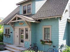braced gable porch roof, window boxes, cedar shake siding, shed dormer, exposed rafters Cottages And Bungalows, Cottages By The Sea, Cabins And Cottages, Beach Cottages, Small Cottages, Cottage Living, Coastal Cottage, Cottage Homes, Coastal Living
