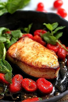 One-Pan Sicilian Style Swordfish with Spicy Olive Oil Poached Tomatoes