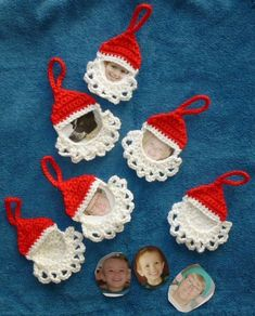 Craft Passions: Santa Frame Ornament# Free #  crochet link here #CrochetChristmas