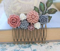 Flower Hair Comb Floral Collage Wedding Hair
