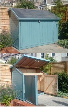 Bespoke 3 bike shed installed in Bristol.  Solid timber sheds, designed, made and installed in UK. Secure handmade bike sheds from only £899.
