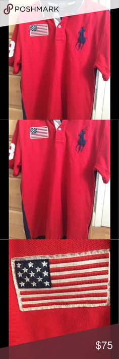 Polo by Ralph Lauren Big Pony USA Polo Size XL Ralph Lauren Big Pony Polo. These are very sought after. Most big pony polos are for their countries, it is rare that you see one for the US of A. Pre-worn but in good condition. Size XL. Polo by Ralph Lauren Shirts Polos