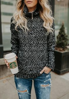 ac307c70d6 Black-White Patchwork Pockets Zipper High Neck Long Sleeve Casual Pullover  Sweater Fashion Wear