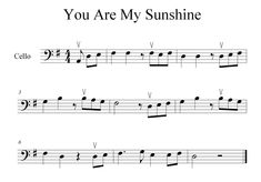 Use this play-along animation to learn You are My Sunshine on the cello Trombone Sheet Music, Cello Music, Recorder Music, Clarinet, Cello Noten, Sunshine Music, Bass Guitar Straps, Best Guitar Players, Music Score
