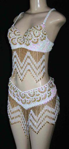 white & gold  dance costume