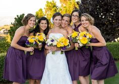 Purple yellow wedding dress