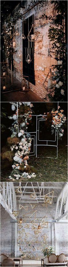 modern industrial geometric wedding backdrop ideas1 #weddingdecor #weddingbackdrops #weddingceremony #weddingideas