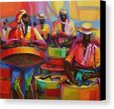 Abstract Canvas Print featuring the painting Steel Pan by Cynthia McLean