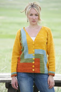 Boyfriend sweater: Sunlight Cardigan by Marly Bird. Play with asymmetric shapes by changing colors on front only...back is solid goldenrod color. Pattern available as a ravelry download: http://www.ravelry.com/patterns/library/sunlight-cardigan