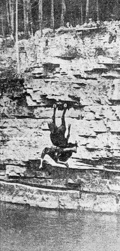 From Perils of Pauline filmed at the Chasm. The horse was fine, the rider received a broken leg.