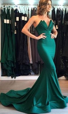 Sexy Evening Dress Green Mermaid Trumpet Prom Dress Sweetheart Satin Long Evening Dresses