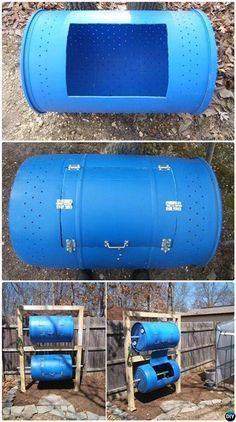 Garden Composting DIY Double-Decker Drum Composter Bin Simple DIY Compost Bin Projects - 12 Simple DIY Compost Bin Solutions Instructions: Go green with these clean, attractive and functional compost bin solutions