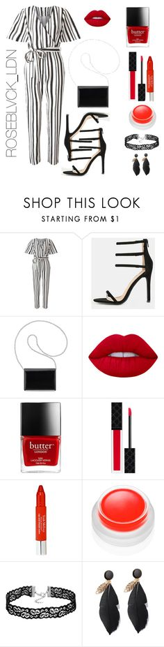 """PETITE FROM THE JUMP "" by roseblvck ❤ liked on Polyvore featuring Miss Selfridge, Nine West, Lime Crime, Gucci, Trish McEvoy and rms beauty"