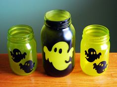 Halloween Mason Jar Candle Set Ghostly Glow