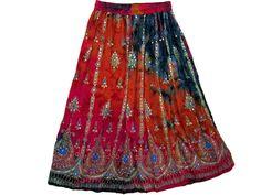 Designer Sequin Skirt Bohemian Chic Orange Pink Tie Dye Women's Long Gypsy Skirt | eBay