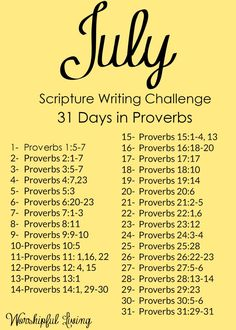 There is so much wisdom - on so many topics - in the book of Proverbs! Writing out just one of these verses a day will give you so much wisdom to chew on for the day!
