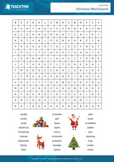 ESL Christmas Worksheet - Reading, Spelling and Speaking Activity - Elementary - 25 minutes In this festive worksheet activity, students find Christmas vocabulary in a word search and then use the words in sentences. Christmas Word Search, Christmas Quiz, English Christmas, Christmas Activities For Kids, Christmas Words, Christmas Ideas, Kids English, English Lessons, French Lessons