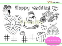 Printable Kids Wedding Activity Coloring Page by VSstudio on Etsy