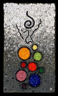 """Breaking The Cycle - Handmade ceramic circles and squiggles, stone, smalti, glass rods.  Lynn Adamo   This piece measures 14"""" x 24 """"."""