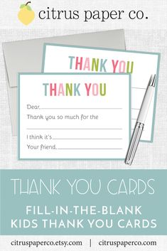 These fill-in-the-blank thank you cards are perfect for teaching your little one how to write a thoughtful thank you note! Each set includes your choice of envelope color, and is packaged in a clear plastic box, perfect for gift-giving! Thank You Cards From Kids, Thank You Notes, Kids Stationery, Personalized Stationery, Match Font, Return Address Labels, Papers Co, Your Cards, Gift Tags