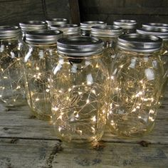 Quart Mason Jars With Warm White Fairy Lights, Set of 12 (TO LINE THE DRIVEWAY)