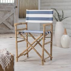 Bamboo 18 Inch Standard Height Directors Chair with Stripe Cover - Set of 2 - CH-007-0-22