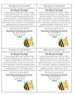 Free All About Me Bag Label (1st, 2nd, and 3rd Grade)