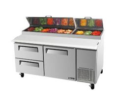 "Turbo Air TurboAir Super Deluxe Pizza Prep Table 20 cu. ft. - TPR-67SD-D2    Super Deluxe Pizza Prep Table, two-section, 20 cu. ft., s/s top w/refrigeration pan rail, (9) condiment pans included, 19-1/2"" deep removable cutting board, s/s interior and exterior, ABS door liner, insulated pan cover, (1) doors w/recessed handles, (2) stainless steel shelves, (2) drawers w/recessed handles, 5"" casters, side-mount, self-contained, 2/3 HP, 2 Year Parts & Labor Warranty"