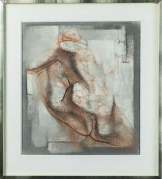 """Georges OUDOT (1928-2004). """" Nu de dos """". Sanguine, fusain sur papier,"""