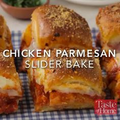 Chicken Parmesan Slider Bake Recipe Sliders are the perfect finger food for any get-together, and this flavorful chicken Parmesan version won't disappoint. —Nick Iverson, Denver, Colorado Think Food, Love Food, Appetizer Recipes, Dinner Recipes, Meat Appetizers, Freezable Appetizers, Brunch Recipes, Fun Sandwich Recipes, Sushi Recipes