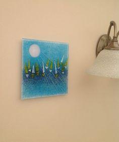 REGATA STUNNING PEICE FUSED GLASS WALL ART 200MM SQUARE | eBay