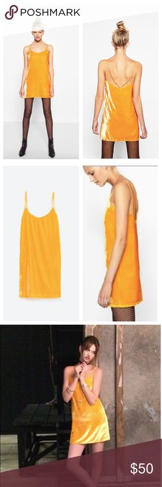Zara NWT short yellow dress size Large Super cute brand new with tags attached Zara short marigold yellow crushed velvet velour slip dress- features double straps with open back & lined. Size Large..! ✨✨ tags attached!! Zara Dresses