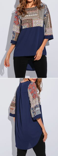 [Newchic Online Shopping] 48%OFF Ethnic Printed Patchwork Blouses with Half Sleeve
