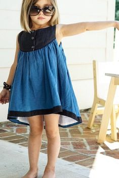 Idea Sandy Dress in Blue + Black (Daydream Line) Toddler Dress, Toddler Outfits, Kids Outfits, Baby Dress, Dresses Kids Girl, Little Dresses, Girls, Little Girl Fashion, Fashion Kids