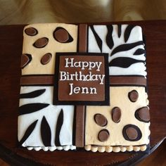 14 year old wanted both zebra and cheetah print on one cake. This is what I came up with.