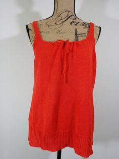 Eileen Fisher knit top lagenlook artsy art to wear artist orange Linen sz PM #EileenFisher #BoatNeck