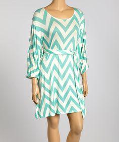 Look what I found on #zulily! Mint Zigzag Dolman Dress - Plus #zulilyfinds