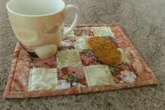 Patchwork quilted mug rug snack mat floral soft by StephsQuilts