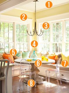 Get This Look - Sunny Corner Banquette - 8 tips from Remodelaholic.com #banquette #design #ideas #dining_room