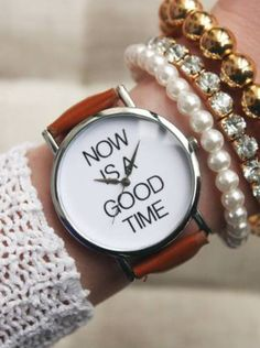 Now is a Good Time Case Fashion Wristwatch Teen Gift Woman Girl Brown Band Watch