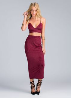 Forever Fave Faux Suede Maxi Skirt BURGUNDY