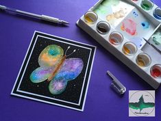 "20 Likes, 1 Comments - @mariebxmastree on Instagram: ""Float like a space Watercolour butterfly 🦋 . . . . #mariebxmastree #handmade #galaxy #galaxyart…"""