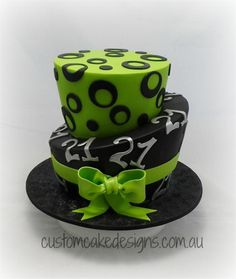 Green - This Topsy Turvy / Madhatter style cake was made for an upcoming and is based on a design specified by the birthday girls mum This is a choc mud cake catering for 50 desert / 100 coffee sized portions 21st Birthday Cake For Girls, Girl Birthday, 21st Cake, Green Cake, Mud Cake, Cake Central, Cake Gallery, Girl Cakes