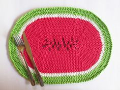 Jogo americano melancia (coleção Tutti Frutti).  Para uma mesa mais divertida e descolada.  100% artesanal.    Adicione já ao seu carrinho!