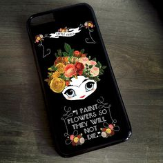 Little Frida Kahlo Black iPhone 7 6 5 4 Cover \ illustrated iPhone 6s Plus Case with Flowers Quote Samsung Galaxy S4 S5 S6 S7 Edge