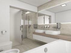 Moderní koupelna IMOLA - vizualizace Bad Inspiration, Bathroom Inspiration, Bathroom Lighting, Bathtub, Flooring, Mirror, Interior, Wall, House
