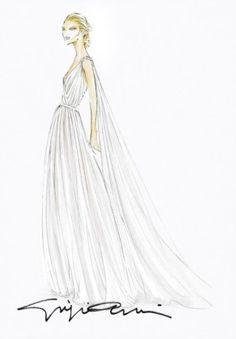 Il bozzetto del vestito di Giorgio Armani Privé