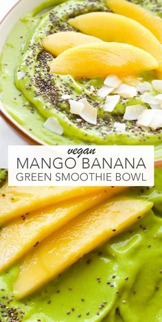 Mango Banana Green Smoothie Bowl This vegan Green Smoothie Bowl has been my go-to lunch lately Besides being healthy I find it incredibly satisfying because of how creamy and delicious it is vegan cleaneating # Fruit Smoothies, Smoothies Vegan, Easy Smoothies, Smoothie Bowl Vegan, Smoothies Bowl Recipe, Smoothie Detox, Acai Bowl Recipe Mango, Smoothie Bowl Green, Cleansing Smoothies