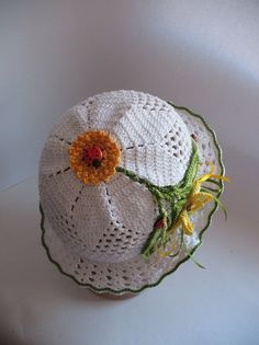 Hat Brim  in White with Yellow Butterfly Summer by ninellfux